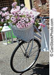 blanc, vélo, classique, -, closeup