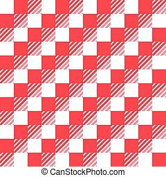 blanc, vérifié, nappe, rouges