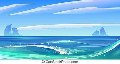 blanc, vagues, nature, océan, mousse, paysage, mer