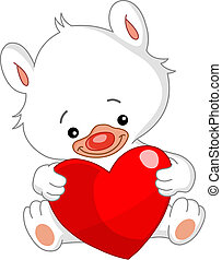 blanc, valentin, ours, teddy