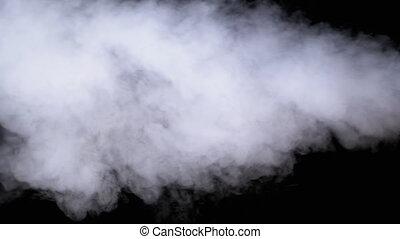 blanc, vapeur, noir, mouvement, vapeur, lent, jet, arrière-...