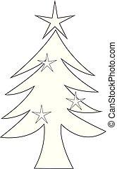 blanc, vecteur, arbre, noël