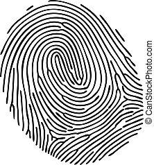 blanc, vecteur, arrière-plan noir, empreinte doigt