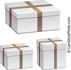 blanc, vecteur, boîtes, expédition
