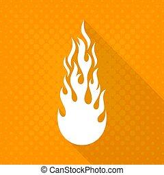 blanc, vecteur, brûler, flamme, icône