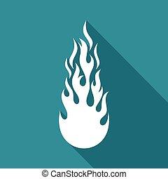 blanc, vecteur, brûler, flamme, plat, icône