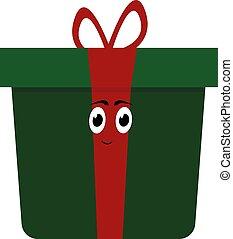 blanc, vecteur, cadeau, illustration, arrière-plan., vert, boîte