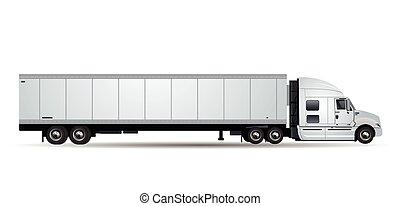 blanc, vecteur, camion, isolé, fond