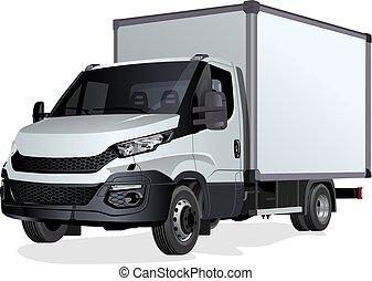 blanc, vecteur, camion, isolé, gabarit