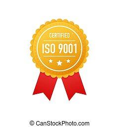 blanc, vecteur, doré, arrière-plan., 9001, illustration., certifié, étiquette, iso