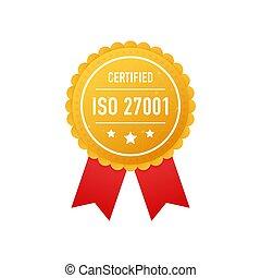 blanc, vecteur, doré, arrière-plan., illustration., certifié, 27001, étiquette, iso