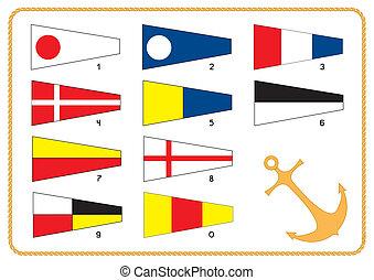 blanc, vecteur, drapeaux, nautique