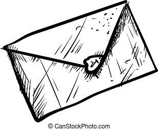 blanc, vecteur, enveloppe, arrière-plan., illustration, dessin