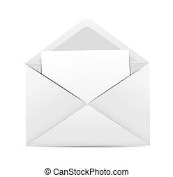 blanc, vecteur, enveloppe, illustration, icône
