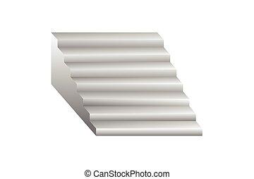 blanc, vecteur, escalier, fond