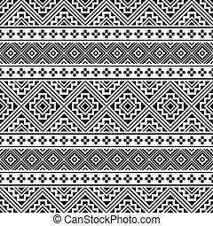 blanc, vecteur, ethnique, seamless, couleur, modèle, noir