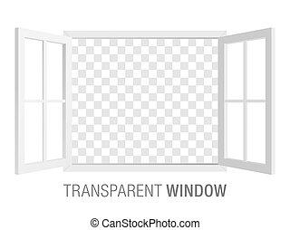 blanc, vecteur, fenêtre, template.