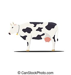 blanc, vecteur, fond, illustration, vache