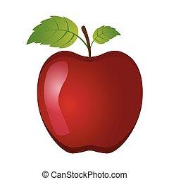 blanc, vecteur, fond, pomme, illustration