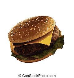 blanc, vecteur, hamburger, illustration