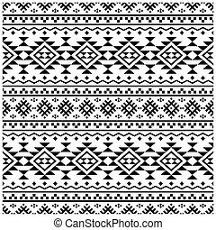 blanc, vecteur, ikat, modèle, ethnique, seamless, aztèque, texture, noir, couleur