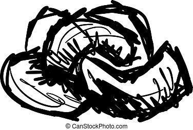 blanc, vecteur, illustration, arrière-plan., dessin, cajous