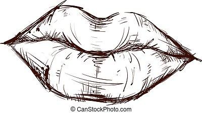 blanc, vecteur, illustration, arrière-plan., dessin, lèvres