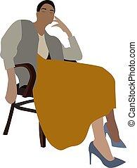 blanc, vecteur, illustration, arrière-plan., girl, chaise