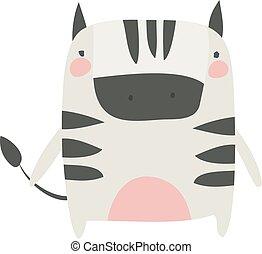blanc, vecteur, illustration, arrière-plan., peu, zebra