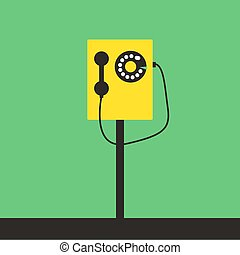 blanc, vecteur, illustration, arrière-plan., téléphone, jaune