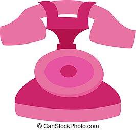 blanc, vecteur, illustration, arrière-plan., téléphone, rose