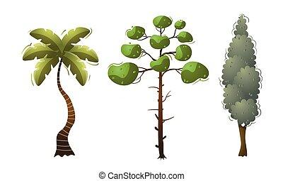 blanc, vecteur, illustration, ensemble, arbres, vert, à feuilles caduques, isolé
