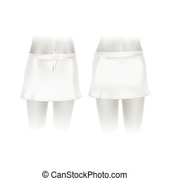 blanc, vecteur, jupe, isolé, fond
