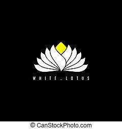 blanc, vecteur, lotus, illustration