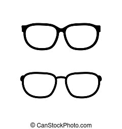 blanc, vecteur, lunettes, fond, isolé, icône