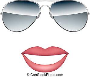 blanc, vecteur, lunettes, lèvres, isolé, fond