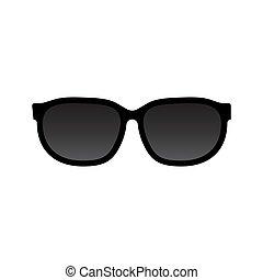 blanc, vecteur, lunettes soleil, fond, isolé, icône