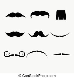 blanc, vecteur, moustache, fond