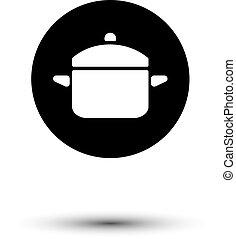 blanc, vecteur, noir, casserole, icône