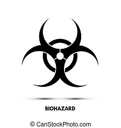 blanc, vecteur, noir, isolé, signe, biohazard, arrière-plan., symbole.