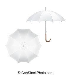 blanc, vecteur, parapluie, illustration, vide