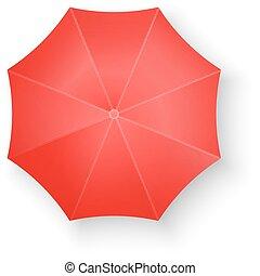 blanc, vecteur, parapluie, isolé, rouges