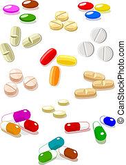 blanc, vecteur, pilules, fond