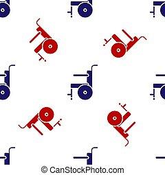 blanc, vecteur, rouges, illustration, fauteuil roulant, icône, personne, isolé, modèle, arrière-plan., bleu, seamless, handicapé