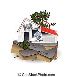 blanc, vecteur, séisme, isolé