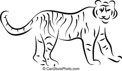 blanc, vecteur, tigre, illustration, arrière-plan., croquis