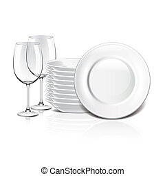 blanc, vecteur, vaisselle, illustration