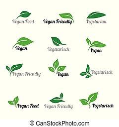 blanc, vegan, résumé, naturel, eco, arrière-plan., éléments, ensemble, logos., vert, nourriture., icône, feuille, bio, icônes