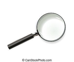blanc, verre, isolé, magnifier