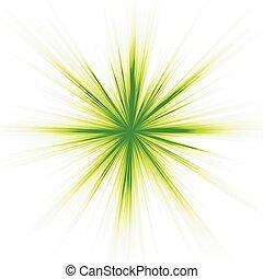 blanc vert, étoile, lumière, éclater